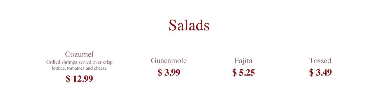 Saladas, Guacamole salad, fajita salad,