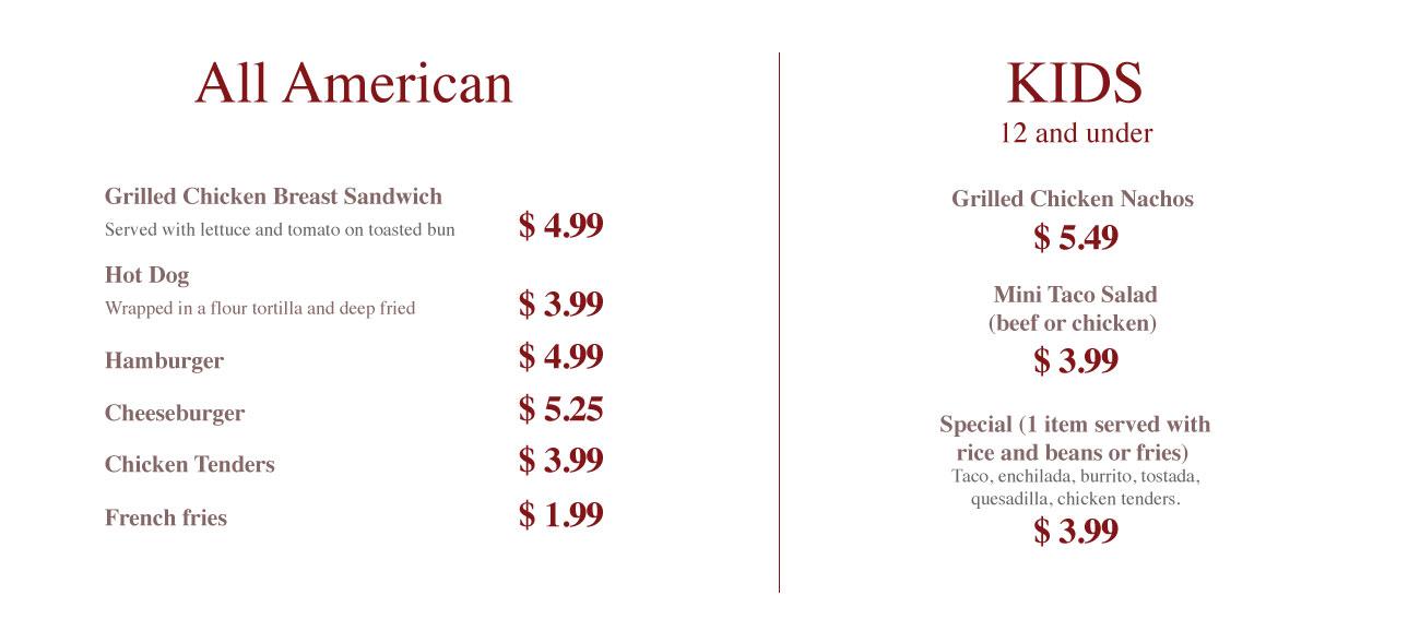 American and kids, hot dog, hamburger, mini taco salad