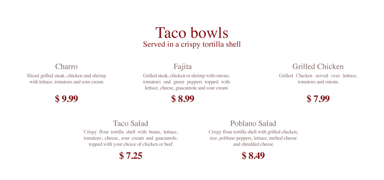 Fiesta charra taco bowls, crispy tortilla shell